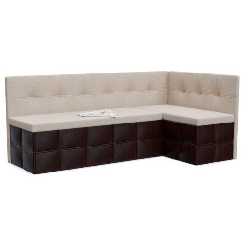 Кухонный диван SMART Домино правый бежевый/коричневый
