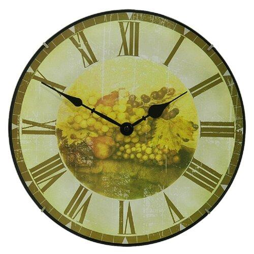 Настенные часы круглые Granat B 128378 под старину с изображением фруктов диаметр 30,5 см