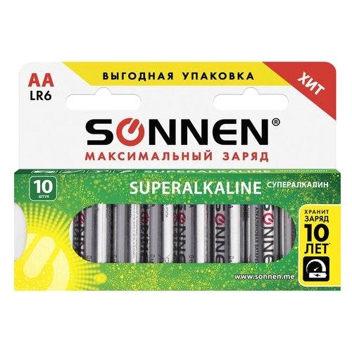 Фото - Батарейка SONNEN AA LR6 максимальный заряд, 10 шт. батарейка sonnen cr2032 1 шт блистер
