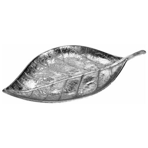 Тарелка декоративная Лист (серебро)