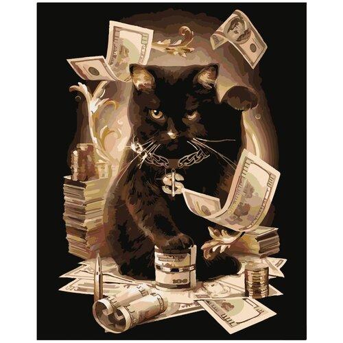 Картина по номерам Артвентура «Денежный кот» (Холст на подрамнике, 50х40 см)