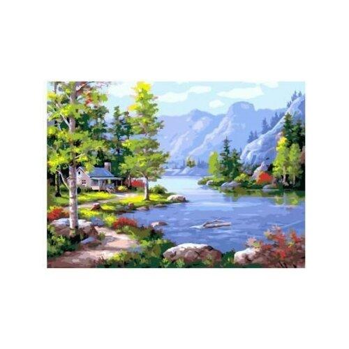 Купить Картина по номерам Paintboy «Домик у озера» (холст на подрамнике, 30х40 см), Картины по номерам и контурам