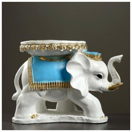 Хорошие сувениры Фигура - подставка Слон Звезда бело-золотой с голубым, 44×28×32см 290436 фигура подставка слон с листком перламутр золото 30х30х30см