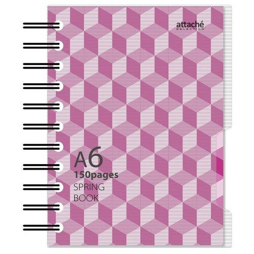 Бизнес-тетрадь А6,150л, клетка, спираль, Attache Selection SPRING BOOK желтый 84238
