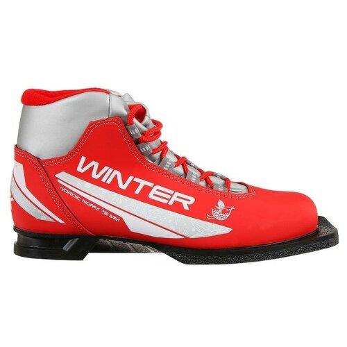 Trek Ботинки лыжные женские TREK Winter 1 NN75, цвет красный, лого серебро, размер 31