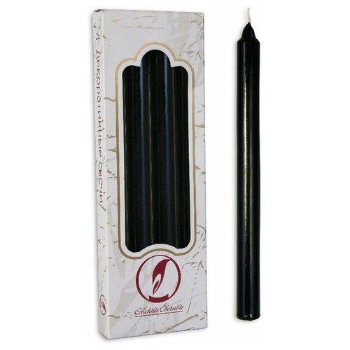 Свечи классические, чёрные, 2х25 см (4 шт.), Омский Свечной 011403-свеча