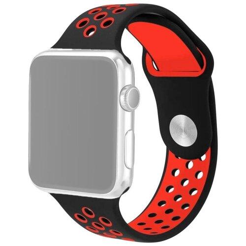 Ремешок для Apple Watch 1-6/SE силиконовый 38/40 мм InnoZone Vent - Черный/Красный (APWTSIH38-18)