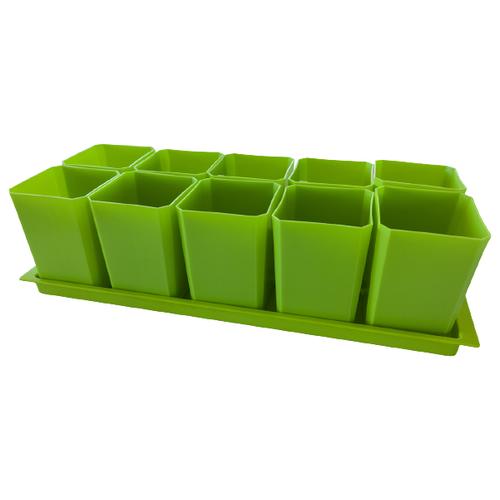 Пеликан Набор горшков для рассады с поддоном зелeный 10 шт.
