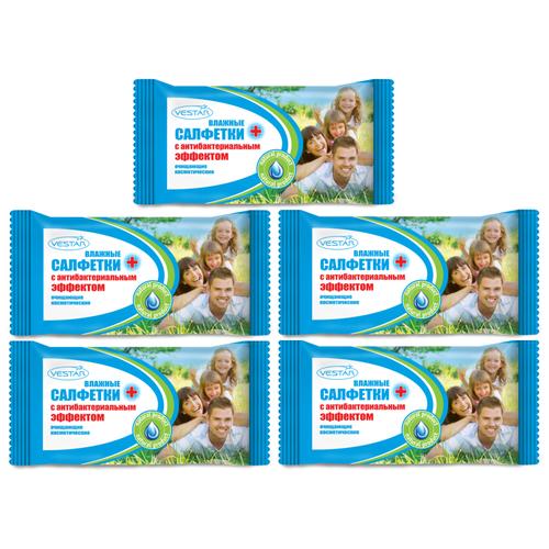Влажные салфетки Vestar для всей семьи с антибактериальным эффектом, 70 шт., 5 уп.