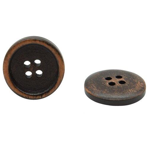 Купить W01 Пуговица 48L (30мм) 4пр. (Brown2 (коричневый2)), 24 шт, Astra & Craft, Пуговицы