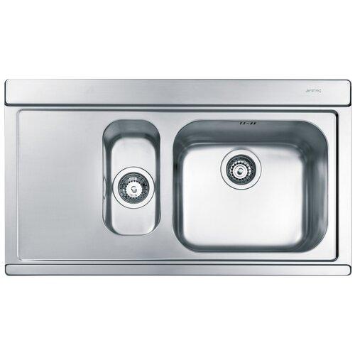 Врезная кухонная мойка 89.7 см Smeg LI915S нержавеющая сталь врезная кухонная мойка 79 см smeg sp791s 2 нержавеющая сталь матовая