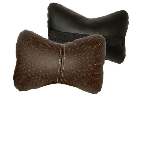 Комплект автомобильных подушек под шею (экокожа, коричневый, черный, 2 штуки)