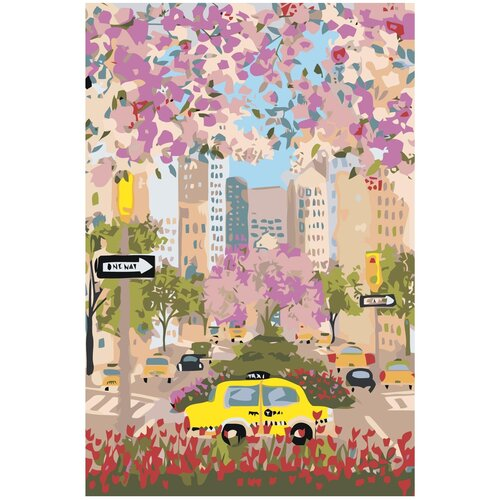 Купить Цветущий город Раскраска картина по номерам на холсте Z-NA9 40х60, Живопись по номерам, Картины по номерам и контурам