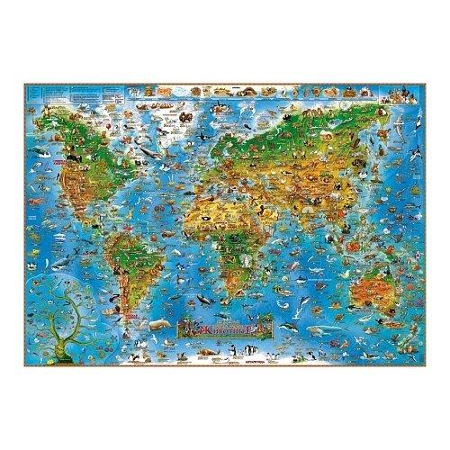 Купить Геоцентр Настенная иллюстрированная карта мира. Животные (978-1-905502-71-4), 97 × 137 см, Карты
