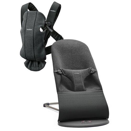 рюкзак женский tatonka magpie для учебы и работы цвет темно серый 17 л BabyBjorn Кресло-шезлонг Bliss Jersey + рюкзак MINI, цвет: темно-серый /темно-серый