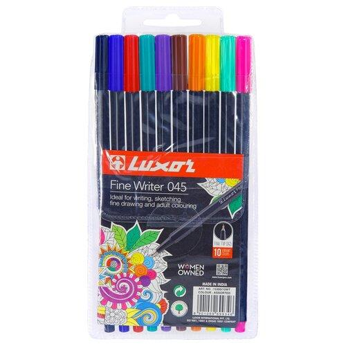 Фото - Luxor Набор капиллярных ручек Fine Writer 045, 10 цветов, 0.8 мм luxor набор капиллярных ручек fine writer 045 0 8 мм 10 шт черный цвет чернил