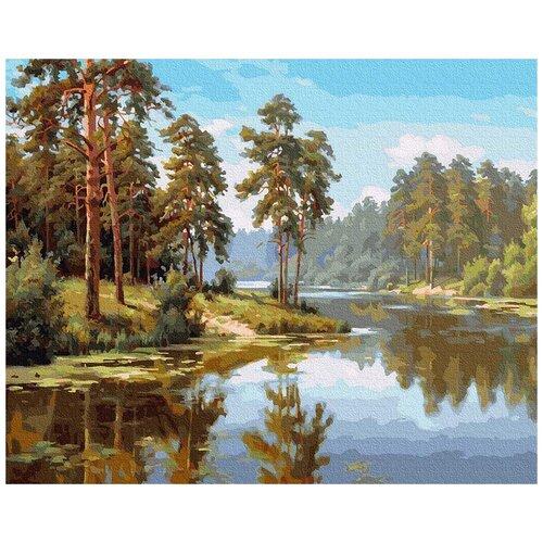 Картина по номерам Прищепа. Сосны у воды, 40x50 см