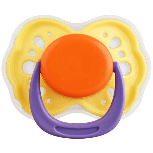 Пустышка латексная ортодонтическая LUBBY 6+, желтый/оранжевый