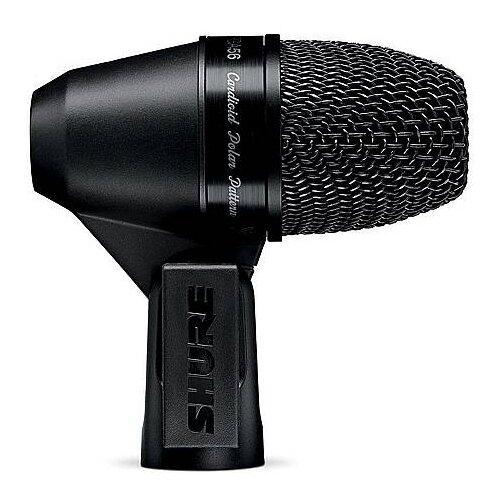 SHURE PGA56-XLR Кардиоидный микрофон для ударных и других музыкальных инструментов, c держателем A50D и с кабелем XLR -XLR