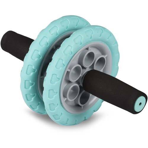 Ролик гимнастический 2 колеса INDIGO усиленный, неопреновые ручки SM-383 Серо-бирюзовый недорого