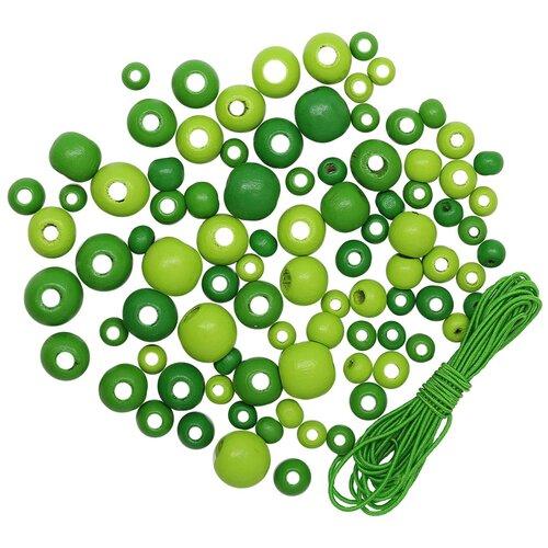 Купить 160816 Набор деревянных бусин со шнуром, зелный микс, 6, 8, 10, 12мм, 90шт/упак, Астра., Astra & Craft, Фурнитура для украшений