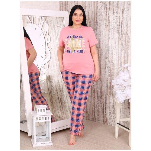 комплект домашний женский vienetta s secret цвет розовый 711026 5167 размер 3xl 54 Костюм женский Бариз+ 1229 размер 54 цвет розовый