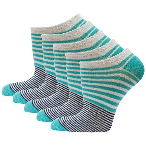 Носки спортивные женские короткие HOSIERY 71150 р 23-25 (36-39 размер обуви) бирюзовые 5 пар