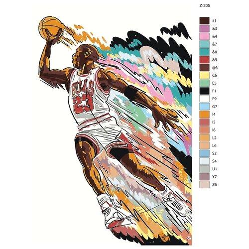 Картина по номерам «Баскетболист Майкл Джордан (Chicago Bulls) бросок мяча» 40х60 см (Z-205)