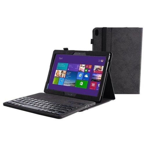 Клавиатура MyPads для Lenovo Tab P10 TB-X705F/ N/ M10 TB-X605F/ M съемная беспроводная Bluetooth в комплекте c кожаным чехлом и пластиковыми наклейками с русскими буквами