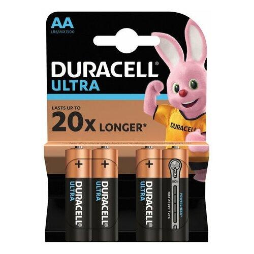 Фото - Батарейки комплект 4 шт., DURACELL Ultra Power, AA (LR06, 15А), алкалиновые, пальчиковые, блистер, 1 шт. батарейки pkcell aa пальчиковые 12 шт уп