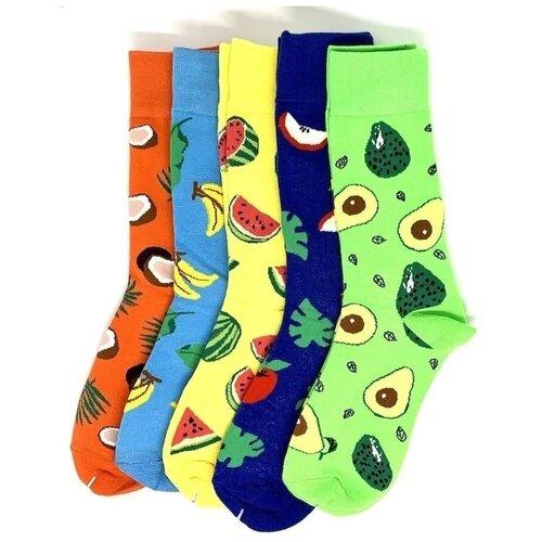 Комплект Высокие носки Amigobs с принтом/рисунком унисекс 5 штук