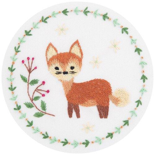 Купить PANNA Набор для вышивания гладью Живая картина. Рыжая лисичка 10 x 10 см (JK-2130), Наборы для вышивания