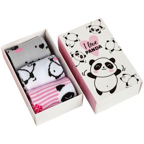 Купить Носки Kaftan комплект из 3 пар, размер 14-16, белый/розовый/серый