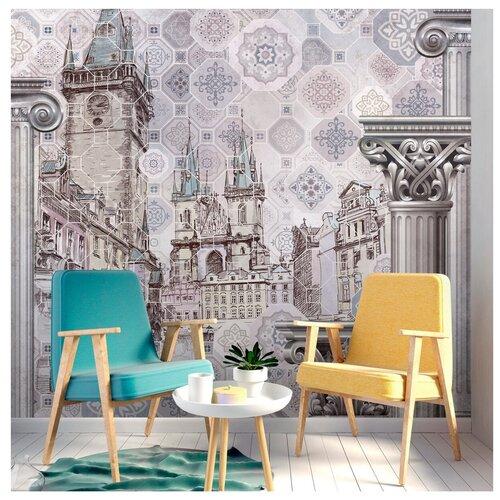 Обои 3d флизелиновые готовые на стену/ На кухню, в прихожую, спальню, гостиную, зал/ Красивое изображение с Прагой и колоннами/ Обои в интерьер/ Дизайн в современном стиле на стену/ 300см х 270см