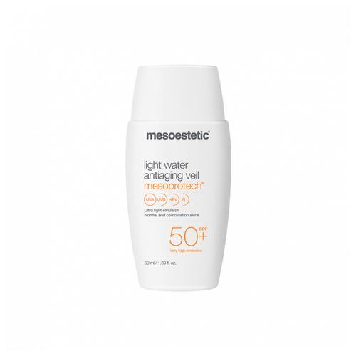 Солнцезащитная антивозрастная эмульсия для лица SPF 50+ Mesoprotech light water antiaging veil 50+, Mesoestetic