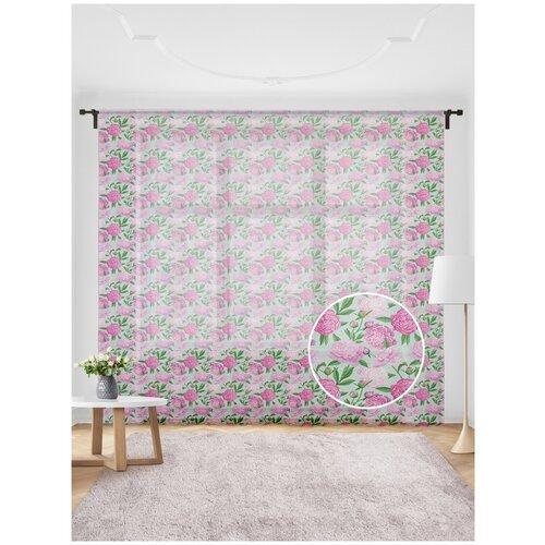 Жаккардовый тюль JoyArty (вуаль, штора) JoyArty на шторной ленте Разнообразие розовых цветов, 300x255 см