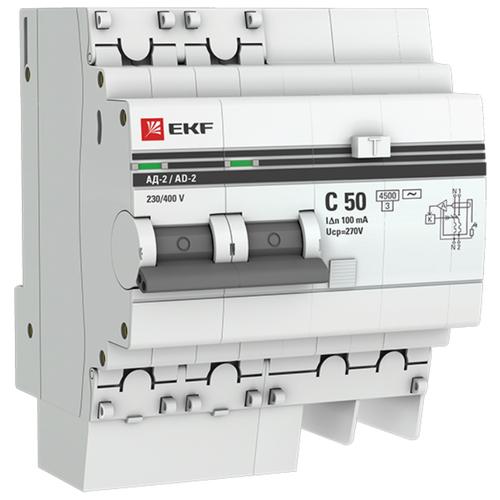 Фото - Дифференциальный автомат EKF АД-2 2П 100 мА C 4.5 кА AC электронный 50 А дифференциальный автомат ekf ад 4 4п 30 ма c 4 5 ка ac электронный 40 а
