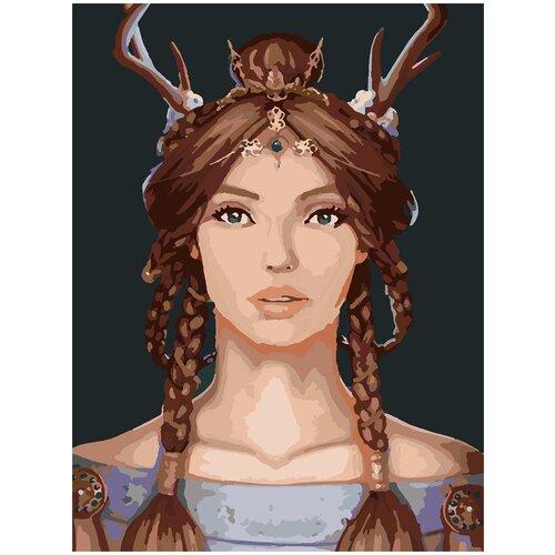 Купить Картина по номерам Девушка с косичками, 80 х 100 см, Красиво Красим, Картины по номерам и контурам
