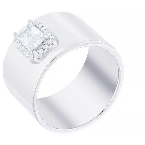ELEMENT47 Широкое ювелирное кольцо из серебра 925 пробы с кубическим цирконием R30146-BW_KO_001_WG, размер 18