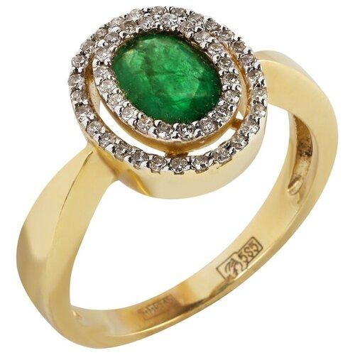 Yvel Кольцо с изумрудом и бриллиантами из жёлтого золота 00434530, размер 17 sargon jewelry кольцо с бриллиантами и изумрудом из жёлтого золота r1311 2010 размер 17 5