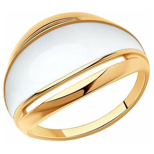 SOKOLOV Кольцо из золочёного серебра с золочением и эмалью 93010875, размер 17