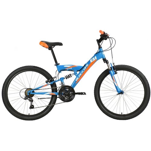 Подростковый горный (MTB) велосипед Black One Ice FS 24 (2021) синий/оранжевый (требует финальной сборки)