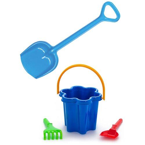 Купить Детский игровой набор для песочницы: Песочный набор Цветок 3 элемента + Лопатка 50 см синяя, КАРОЛИНА ТОЙЗ, Karolina toys, Наборы в песочницу