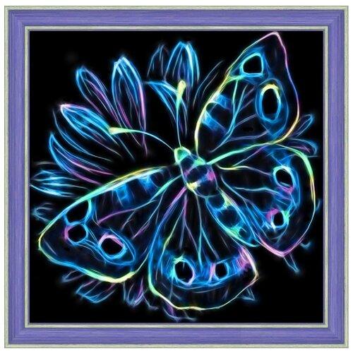 Алмазная живопись Набор алмазной вышивки Неоновая бабочка (АЖ-1713) 25х25 см алмазная живопись набор алмазной вышивки персидская принцесса аж 1620 25х25 см