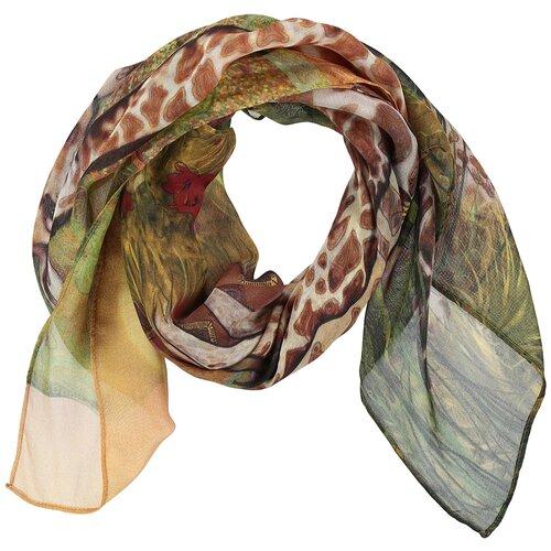 Платок женский шелковый, жёлтый, коричневый, зелёный, платок с авторским арт-принтом Оланж Ассорти