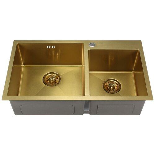 Врезная кухонная мойка 80 см MELANA MLN-8045 золото сатин кухонная мойка melana 218 t 10