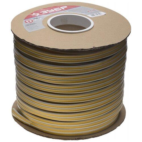 Уплотнитель ЗУБР резиновый самоклеящийся, профиль D, белый, 150м 40920-150