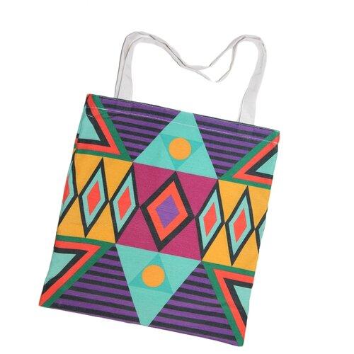 Сумка шопер, полиэстер, фиолетовый, светло-зелёный, жёлтый, холщовая эко-сумка Оланж Ассорти с принтом
