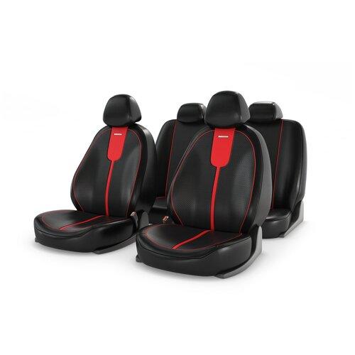 Универсальные чехлы на автомобильные сиденья CarFashion GALS красный/черный/красный