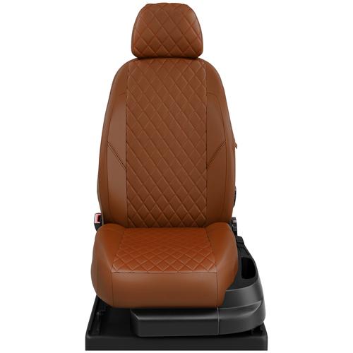 Авточехлы для Datsun Mido с 2014-н.в. хэтчбек Задние спинка и сиденье 40 на 60, 5 подголовников. (Датсун Ми-до). ЭК-28 паприка/паприка ромб: Паприка